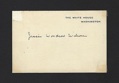 Jesse Woodrow Wilson Signed White House Card, Very Rare Auto d.1933, JSA COA