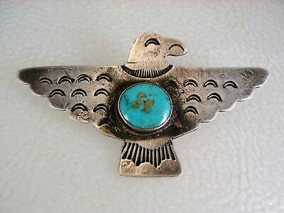 Rare Early Navajo Stamped Coin Silver & Turquoise Thunderbird Eagle Bird Pin