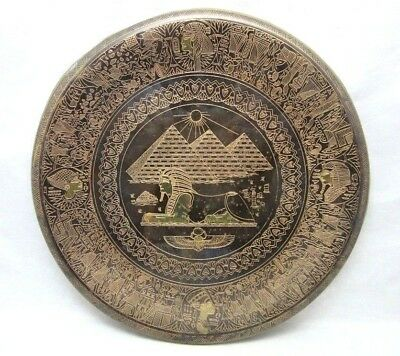Vintage etched brass souvenir plate from Egypt. Pyramids & Sphinx