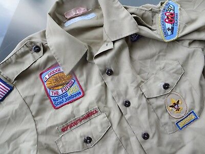 🌟 Boy Scouts of America Men's sz M Shirt with Patches 1993 National Jamboree 🌟