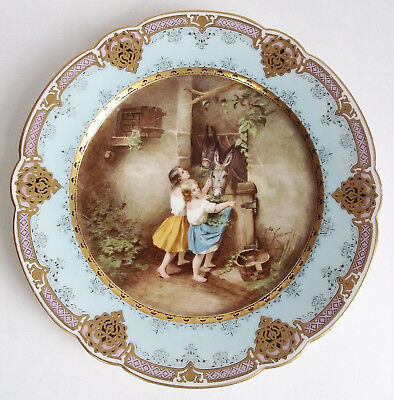 Antique PILLIVUYT French PARIS Porcelain CABINET PLATE ARTIST SIGNED Gold Blue