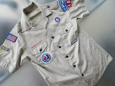🌟 Boy Scouts of America Men's sz M Shirt with Patches 1990 Stanford  🌟
