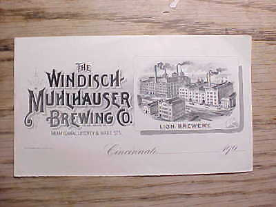 1900 to 1909 LION BREWERY CINCINNATI UNUSED LETTERHEAD WITH PICTURE OF BREWERY