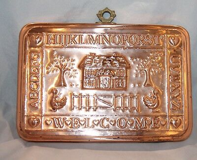 Vintage Copper / Metal WALL HANGING Rectangle Mold Welcome alphabet