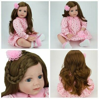 "24"" Toddler Girl Reborn Baby Dolls Handmade Soft Vinyl Silicone Baby Doll Gifts"