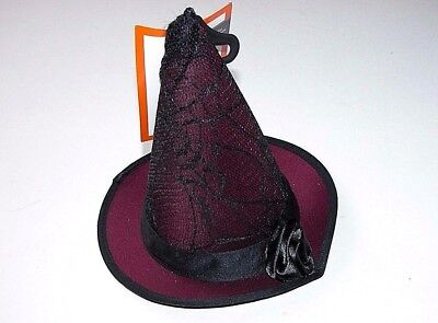 NEW NWT Halloween Costume Adult Cocktail Witch Hat Black Lace Burgundy