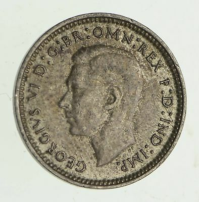 Roughly Size of Dime - 1942 Australia 3 Pence - World Silver Coin *533