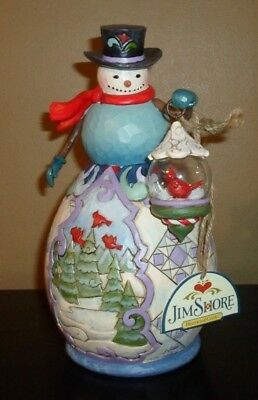 Enesco Jim Shore Heartwood Creek 2011 Winter's Beauty SNOWMAN w/ GLASS GLOBE