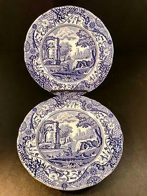 "Two Spode Blue Italian 6.25"" Bread Butter Plate Dish Dessert China England White"