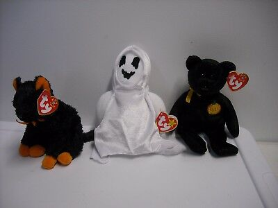 Lot 3 - Ty Beanie Baby Halloween - Sheets the Ghost, Haunt the Bear, Fraidy Cat