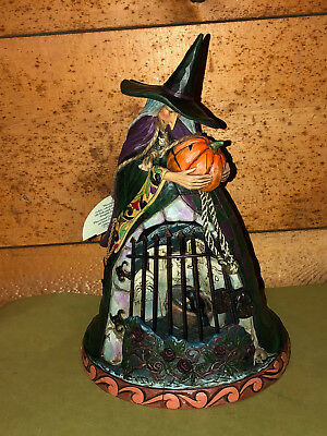 Jim Shore SPELLBOUND Witch w/ Jack-O-Lantern & Graveyard Mint-in-Box