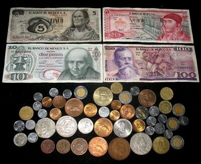Vintage Mexico Coin And Banknote Lot! Many High Grade Coins! #199