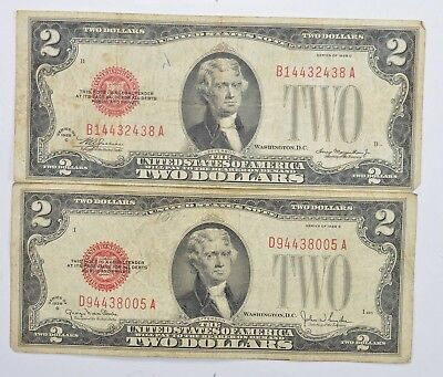 Lot (2) Red Seal $2.00 US 1928-G & C Notes - Currency Collection *265