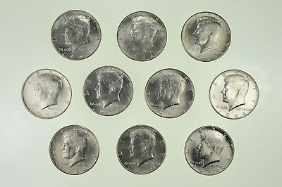 Brilliant Unc Lot of (10) 1964 Kennedy Half Dollars Collection - 90% Silver *913