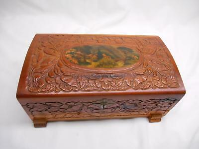 Antique CARVED WOOD TRINKET DRESSER BOX Mirror Litho Print Top Old Vtg Jewelry