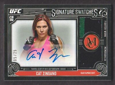 2016 Topps UFC Museum Collection Doppia Swatch Auto Oro Sdra-Cz Gatto Zingano