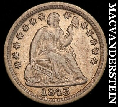 1843 Seated Liberty Half Dime - Extra Fine!!  Better Date!!  #c2475