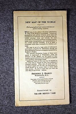 FREDERIC J HASKIN New Map of the World NEW BEDFORD TIMES Rand McNally