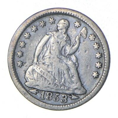 5c *1/2 Dime HALF* 1853 Seated Liberty Half Dime - Early American Type Coin *874