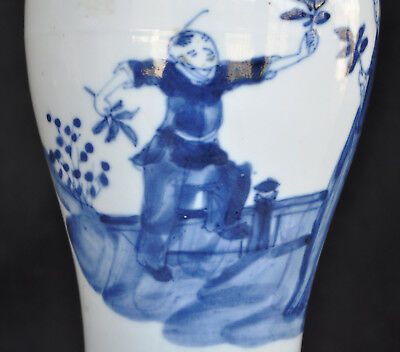18Th Century Antique Chinese Kangxi Mark Porcelain Blue And White Vase Lamp