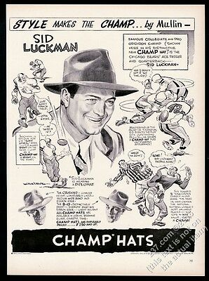 1946 Sid Luckman Chicago Bears QB portrait Champ men's hat vintage print ad