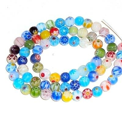 """G493 Millefiori Assorted Color Mixed 6mm Round Glass Beads 15"""""""