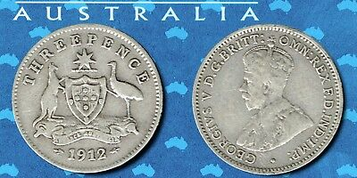 AUSTRALIA:- King George V, 92% Silver 3 pence coin, dated 1912. AP6995