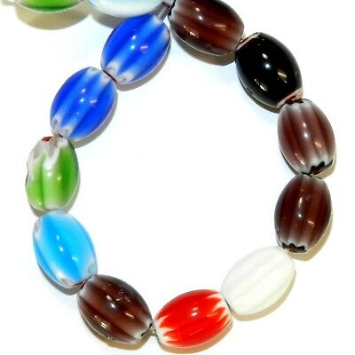 """G765 Assorted Multi-Colored Chevron Millefiori 14mm Tapered Oval Glass Beads 15"""""""