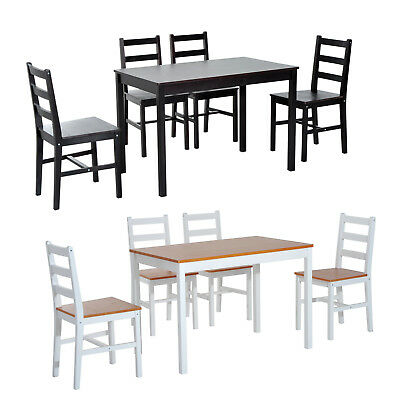 5 PCs Dining Set Solid Pine Wood Table Compact 4 High Back Chair