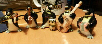Mini Ceramic Penguin Band Playing Musical instruments GET 5 Small Chip Free Ship