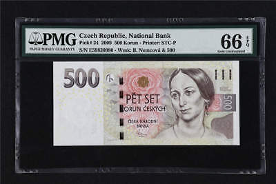 2009 Czech Republic National Bank 500 Korun Pick# 24  PMG 66 EPQ Gem UNC