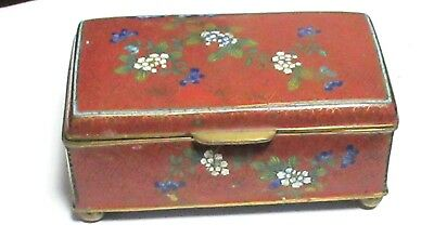 Chinese Cloisonne Red Enamel Humidor Trunk Jar Footed Box
