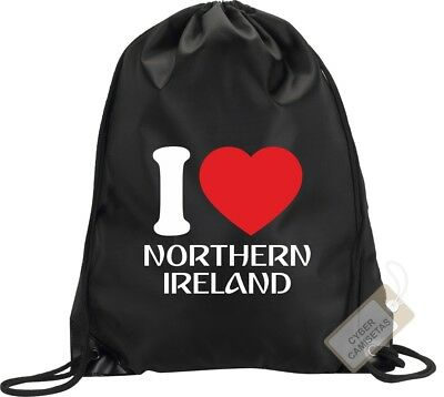 I Love Irlanda Del Norte Mochila Bolsa Saco Backpack Bag Northern Ireland