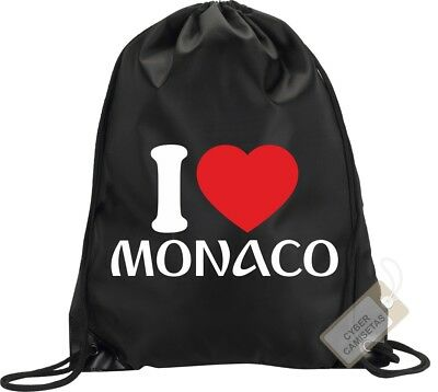 I Love Monaco Mochila Bolsa Gimnasio Saco Backpack Bag Gym Monaco Sport