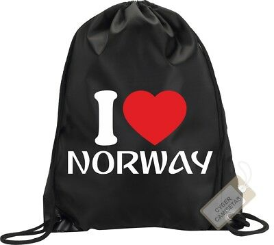 I Love Noruega Mochila Bolsa Gimnasio Saco Backpack Bag Gym Norway Sport