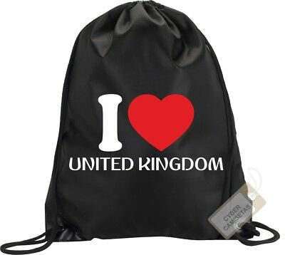 I Love Reino Unido Mochila Bolsa Gimnasio Saco Backpack Bag Uk United Kingdom