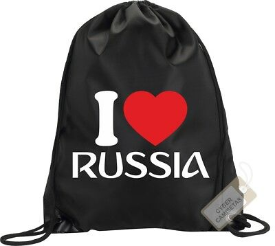 I Love Rusia Mochila Bolsa Gimnasio Saco Backpack Bag Gym Russia Sport