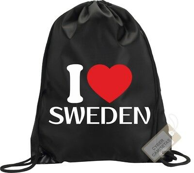 I Love Suecia Mochila Bolsa Gimnasio Saco Backpack Bag Gym Sweden Sport