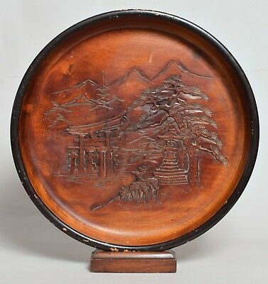 Good Large Antique Chinese Carved Softwood Wooden Tray Lacquered Signed