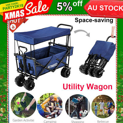 Foldable Canopy Utility Wagon Travel Collapsible Cart Farm Trolley Outdoor Beach