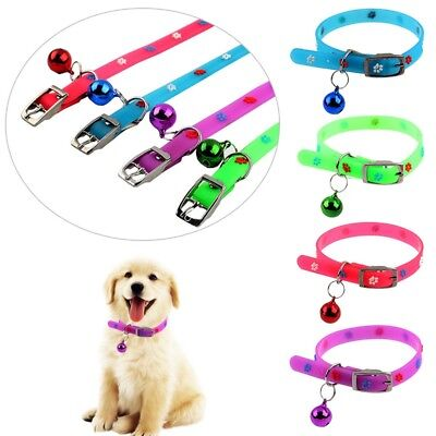 Adjustable Silicone Dog Bell Collar With Paw Printed For Small Dog Cat Necklace
