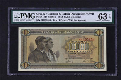 1942Greece / German Occupation WWII  10000 Drachmai Pick# 120b PMG 63 EPQ UNC