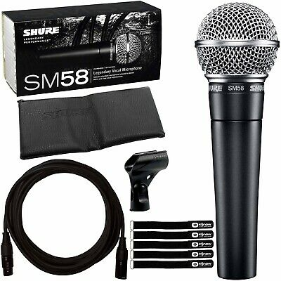 Shure SM58 Multipurpose DJ Event Vocal Performance Dynamic Microphone Cable Pack
