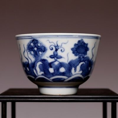 China Rare Antique 19th century KangXi Blue and white Flowers Porcelain Cup HX13