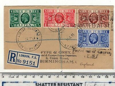 Gv Pitcairn Island Postal Agency Registered Airmail Cover To Uk.1935 Jubilee Set