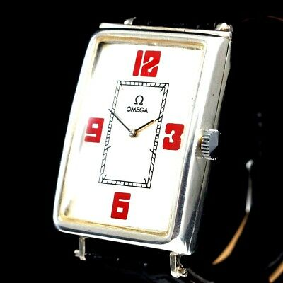 Vintage Mens Wrist Watch OMEGA Art Deco Swiss Sterling Silver Men's Wristwatch