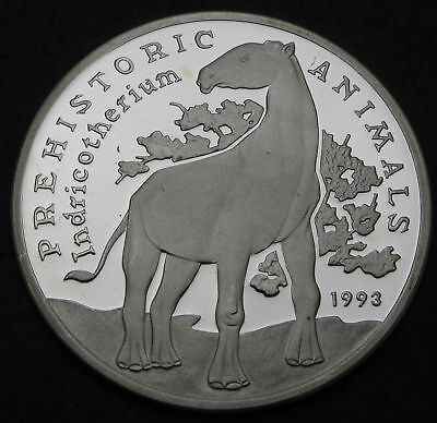 CAMBODIA 20 Riels 1993 Proof - Silver - Prehistoric Animals - 1391