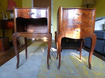 Antique French wood inlaid Louis 16th style pair of bedside cabinets