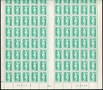 Pack N°4765 France Variety N°2618a Sheet 100 without bands of phosphorus New