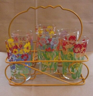 6 Vintage Swanky Swigs Floral Drinking  Glasses Tumblers w/ Carrier